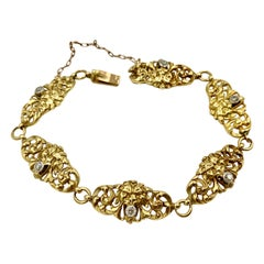French Lion Gargoyle Grotesque OEC Diamond Bracelet Belle Epoque 18 Karat Gold