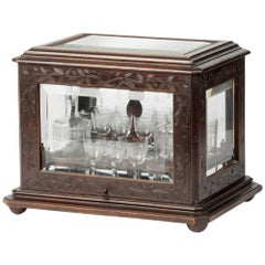 French Liquor Chest with Crystal Glasses and Decanters