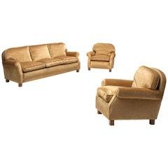 French Living Room Set in Beige Velvet