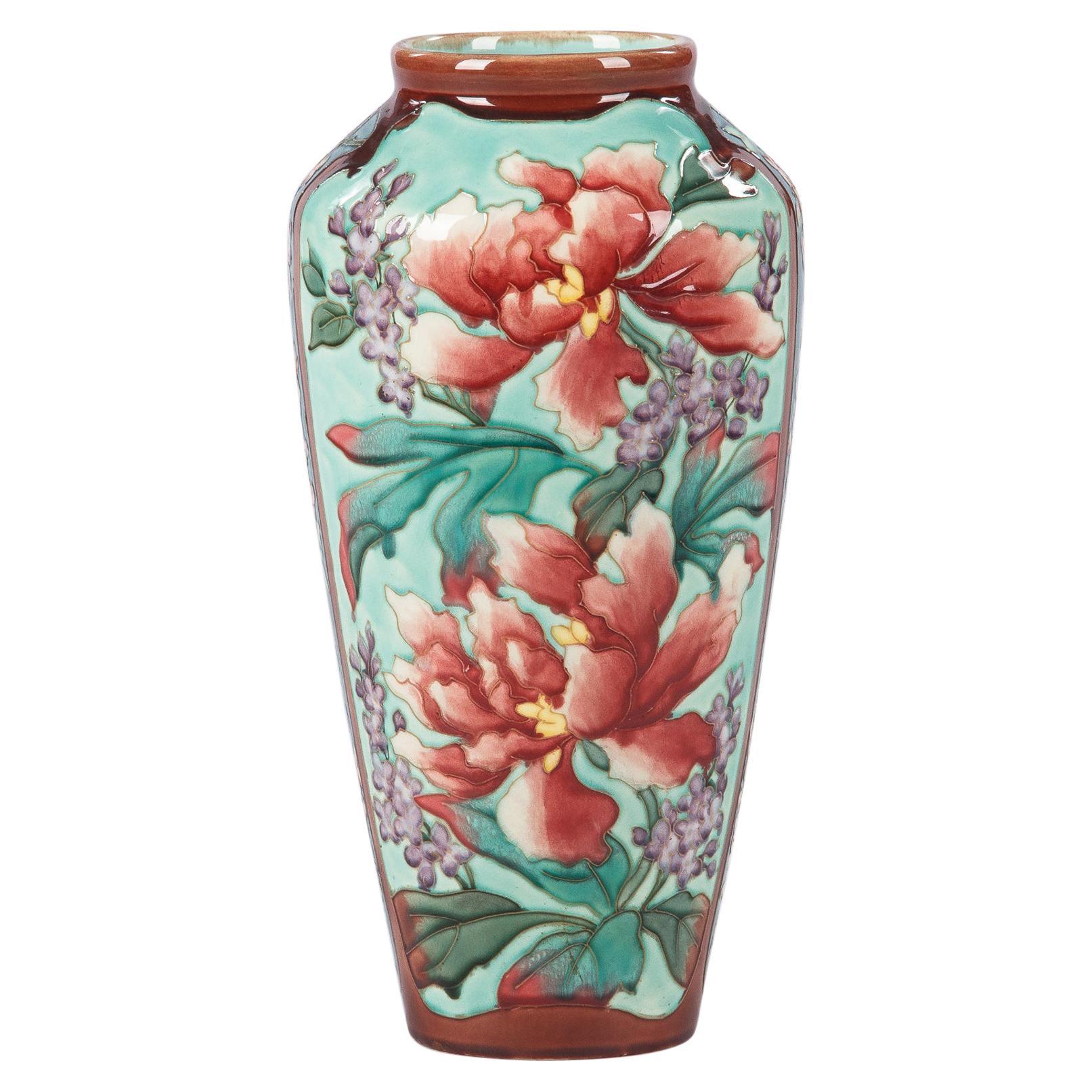 French Longchamp Majolica Ceramic Vase, 1900s