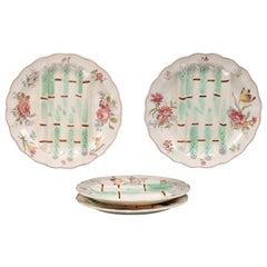 French Longchamp Pompadour Pattern Majolica Asparagus and Flower Plates