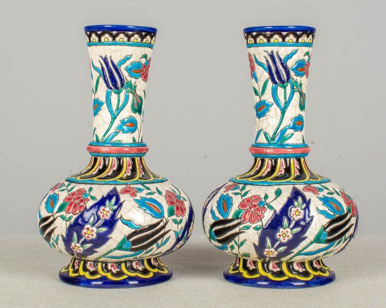 Cloissoné French Longwy Ceramic Cloisonné Vases, Pair of the 19th Century For Sale