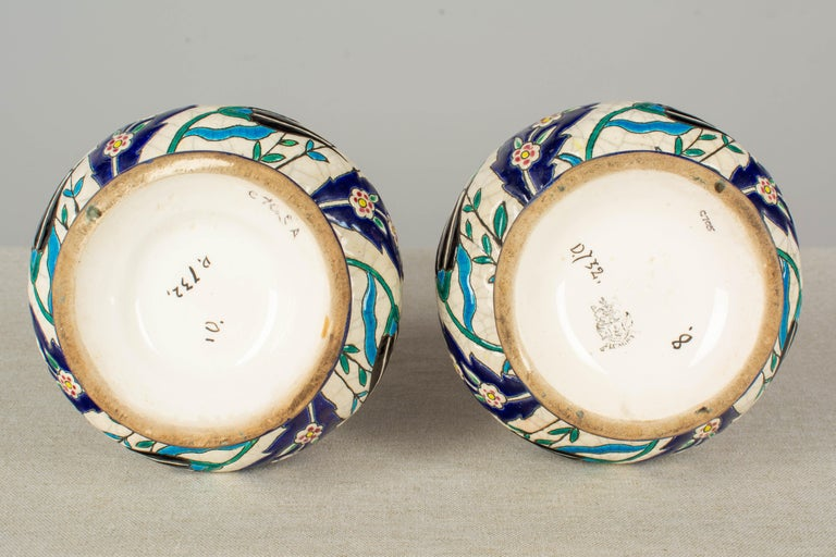 French Longwy Ceramic Cloisonné Vases, Pair of the 19th Century In Good Condition For Sale In Winter Park, FL