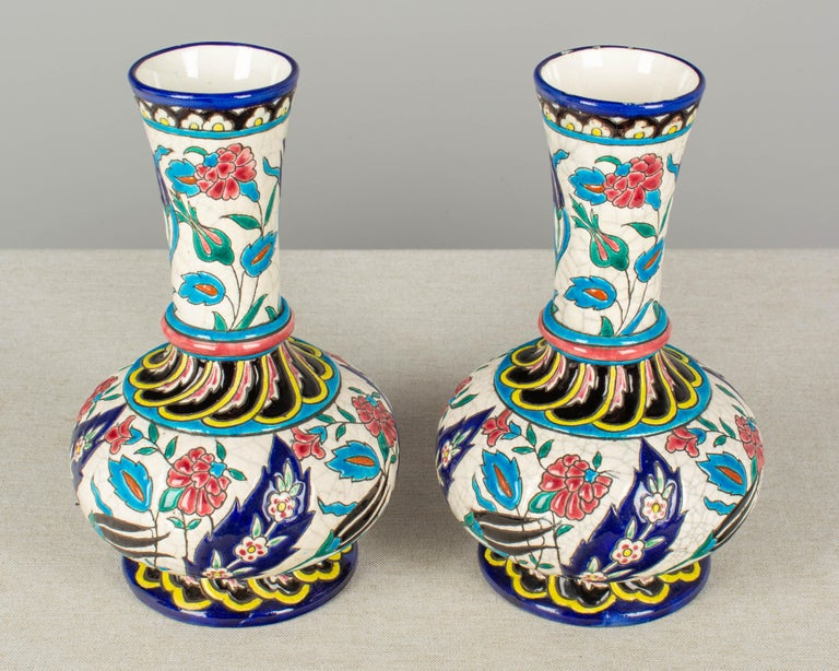 French Longwy Ceramic Cloisonné Vases, Pair of the 19th Century For Sale 1