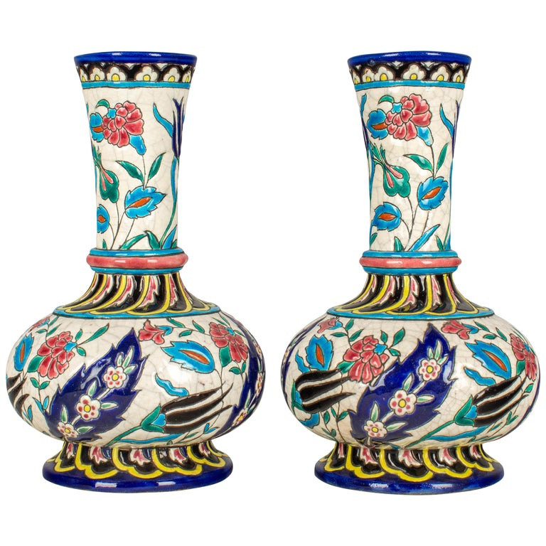 French Longwy Ceramic Cloisonné Vases, Pair of the 19th Century For Sale