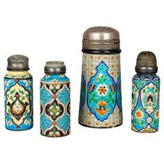 French Longwy Ceramic Shakers, Set of Four