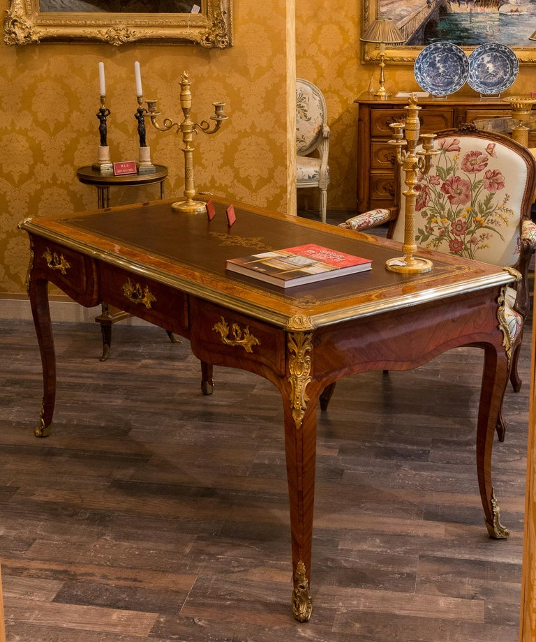 French Louis Period, Flat Violetwood Desk with Gilt-Bronze Decoration circa 1750 For Sale 11