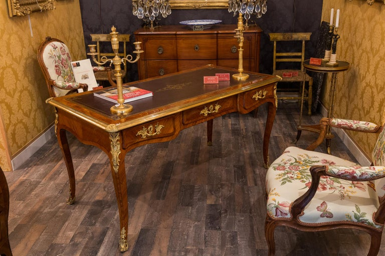 French Louis Period, Flat Violetwood Desk with Gilt-Bronze Decoration circa 1750 For Sale 12
