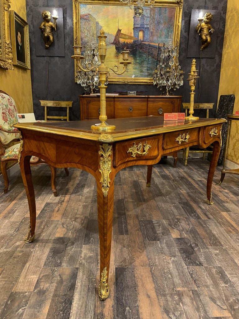Louis XV French Louis Period, Flat Violetwood Desk with Gilt-Bronze Decoration circa 1750 For Sale