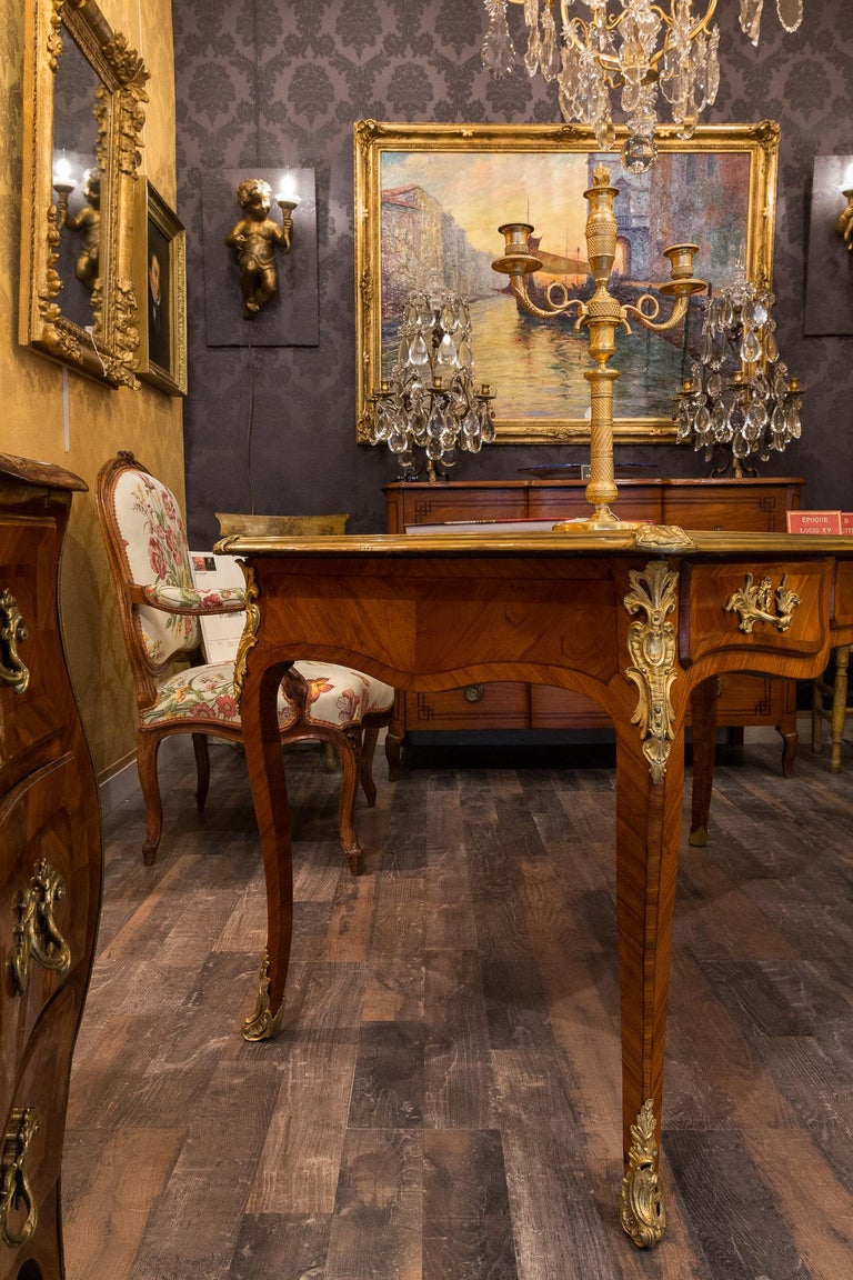 Patinated French Louis Period, Flat Violetwood Desk with Gilt-Bronze Decoration circa 1750 For Sale