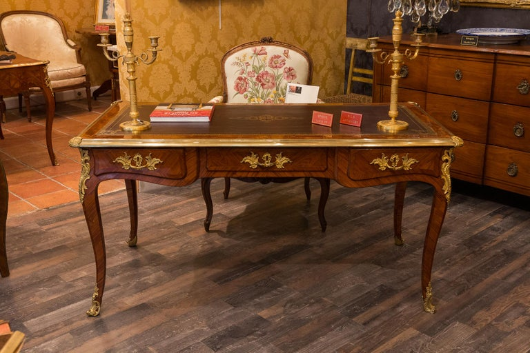 French Louis Period, Flat Violetwood Desk with Gilt-Bronze Decoration circa 1750 For Sale 2