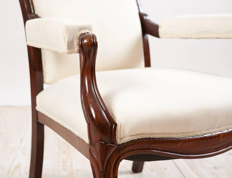 Hand-Carved French Louis Philippe Armchair/Fauteuil in Mahogany with Upholstery, circa 1830 For Sale