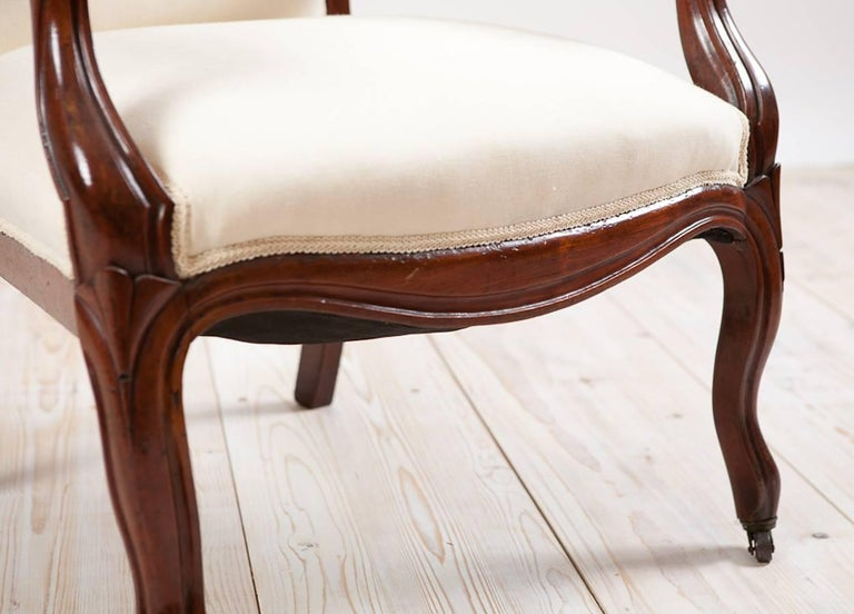 French Louis Philippe Armchair/Fauteuil in Mahogany with Upholstery, circa 1830 For Sale 1