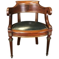French Louis Philippe Brass Trimmed Leather and Walnut Desk Chair