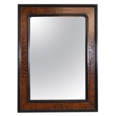 French Louis Philippe Burl Walnut and Ebonized Wall Mirror