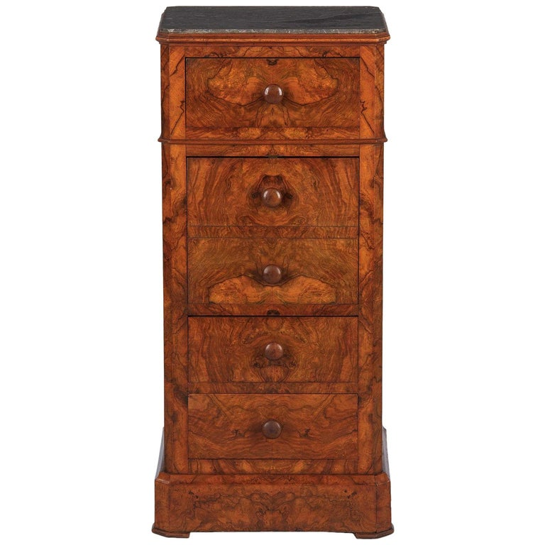 French Louis Philippe Burl Walnut Cabinet Nightstand with Marble Top, Mid-1800s For Sale