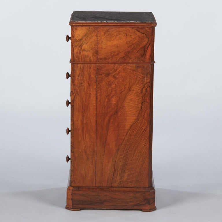French Louis Philippe Burl Walnut Cabinet Nightstand with Marble Top, Mid-1800s For Sale 6