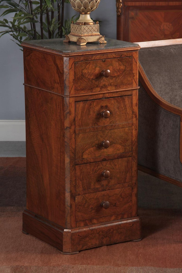 French Louis Philippe Burl Walnut Cabinet Nightstand with Marble Top, Mid-1800s For Sale 7