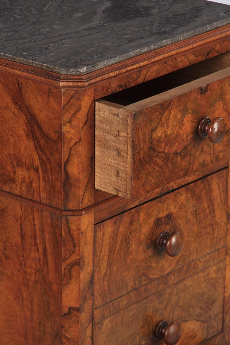 French Louis Philippe Burl Walnut Cabinet Nightstand with Marble Top, Mid-1800s For Sale 8