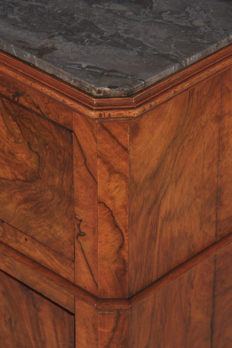 French Louis Philippe Burl Walnut Cabinet Nightstand with Marble Top, Mid-1800s For Sale 12