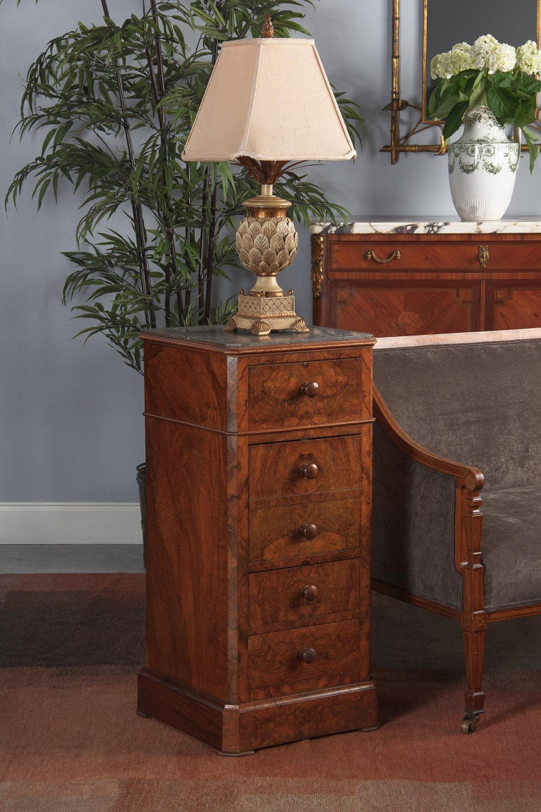 French Louis Philippe Burl Walnut Cabinet Nightstand with Marble Top, Mid-1800s For Sale 14