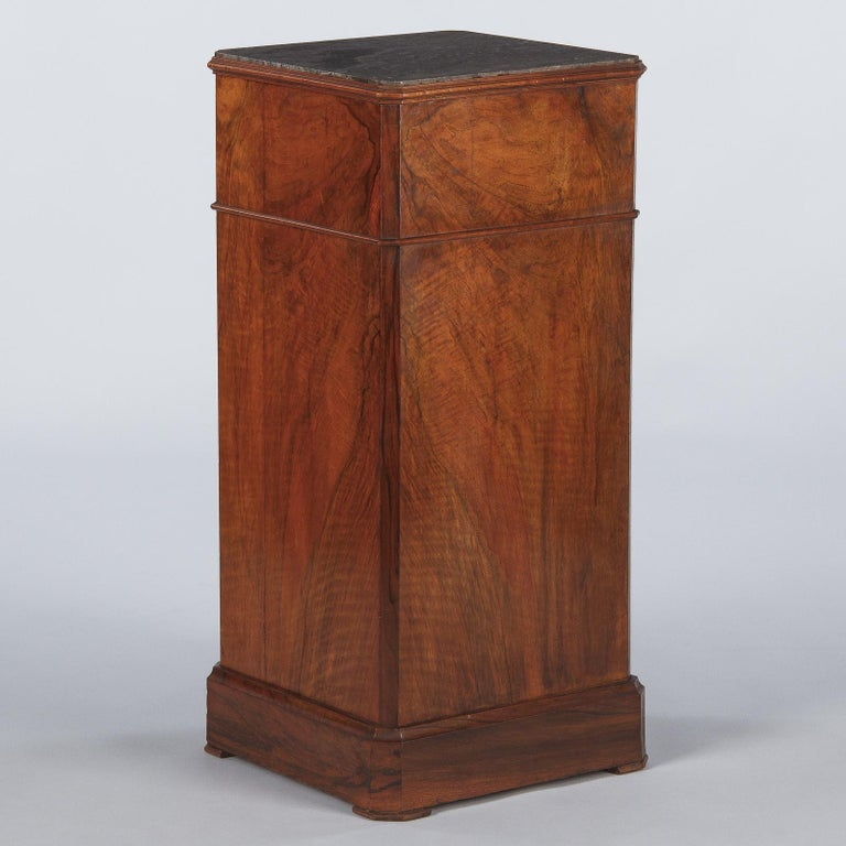 French Louis Philippe Burl Walnut Cabinet Nightstand with Marble Top, Mid-1800s For Sale 13
