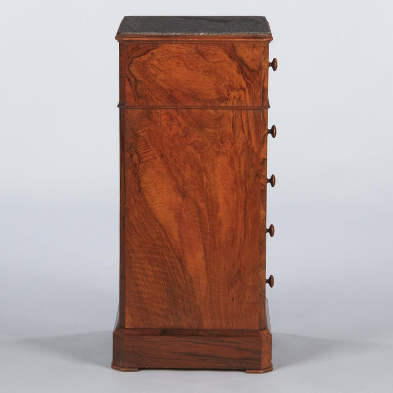 French Louis Philippe Burl Walnut Cabinet Nightstand with Marble Top, Mid-1800s For Sale 2