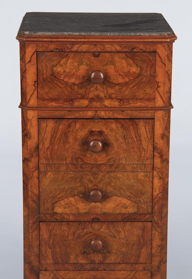 French Louis Philippe Burl Walnut Cabinet Nightstand with Marble Top, Mid-1800s For Sale 3