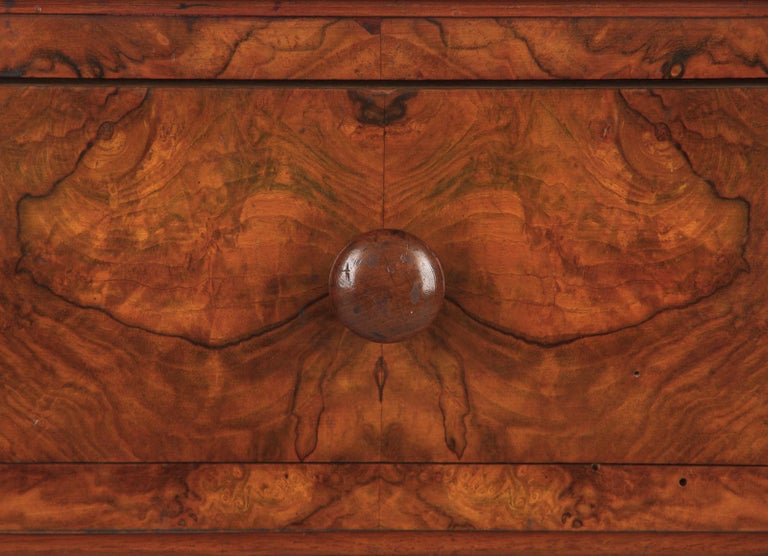 French Louis Philippe Burl Walnut Cabinet Nightstand with Marble Top, Mid-1800s For Sale 4