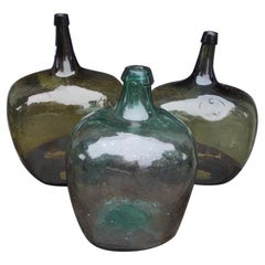French Hand Blown Three Decorative Bulbous Colored Glass Wine Jugs, Circa 1860