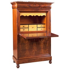 Antique French Louis Philippe Fall-Front Secretary in Mahogany, circa 1835