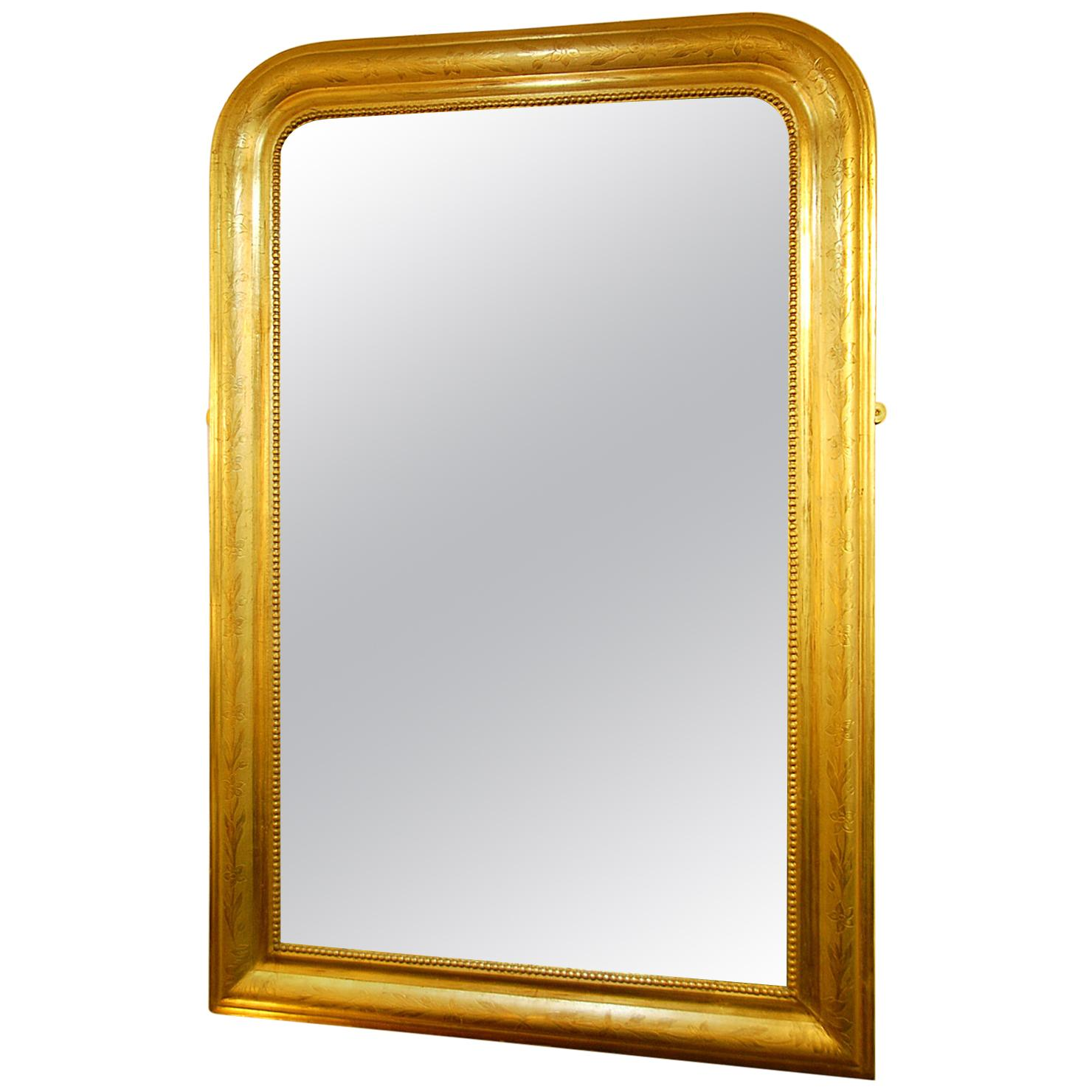 French Louis Philippe Gold Leaf Incised Mirror