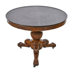 French Charles X Gueridon Pedestal Table in Mahogany with Round Marble Top