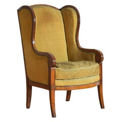 French Louis Philippe Light Walnut Bergere Wingchair, Mid-19th Century