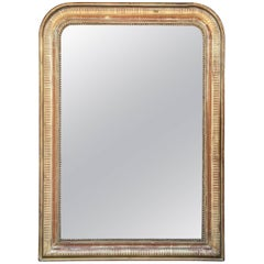 French Louis Philippe Mirror with Stripe Pattern and Beaded Gilt Frame