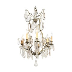 French Louis-Philippe Period 1840s Eight-Light Crystal Chandelier with Finial