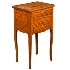 French Louis-Philippe Period 1840s Walnut Bedside Table with Geometric Banding