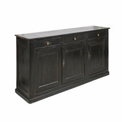 French Louis-Philippe Period 1840s Walnut Enfilade with Original Black Paint