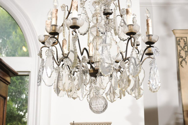 French Louis-Philippe Period Nine-Light Crystal and Iron Chandelier, circa 1840 For Sale 5
