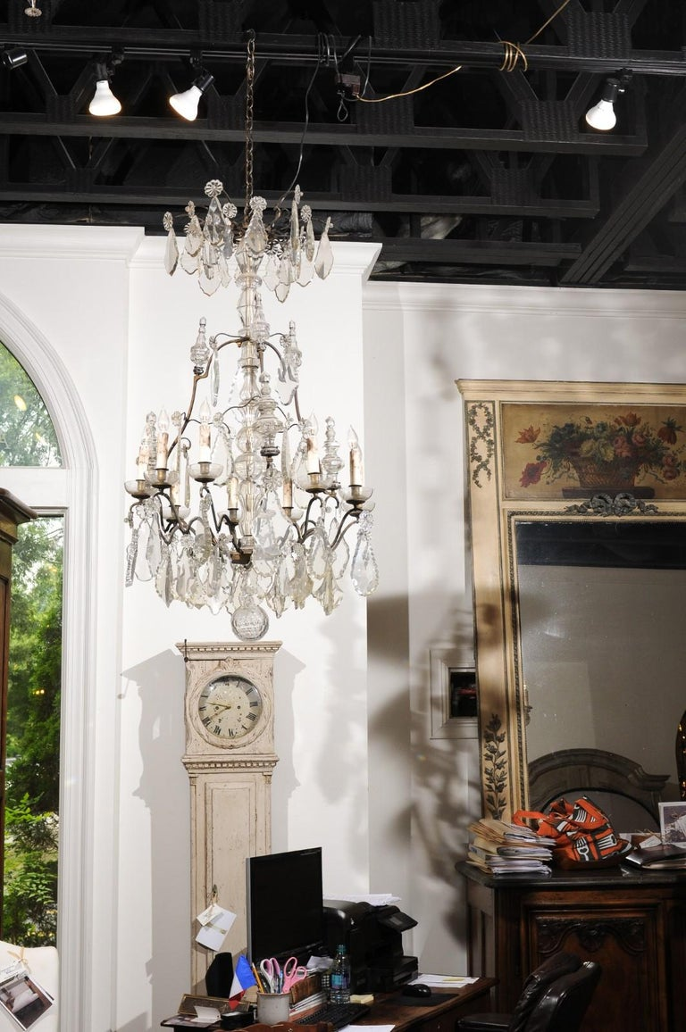 Louis Philippe French Louis-Philippe Period Nine-Light Crystal and Iron Chandelier, circa 1840 For Sale