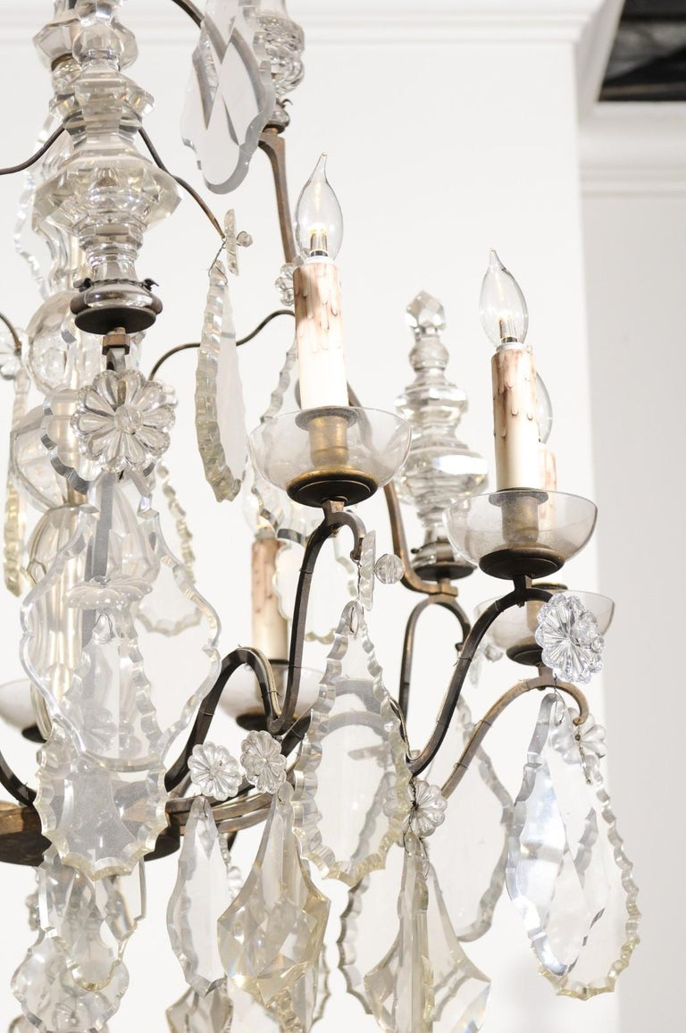 French Louis-Philippe Period Nine-Light Crystal and Iron Chandelier, circa 1840 In Good Condition For Sale In Atlanta, GA
