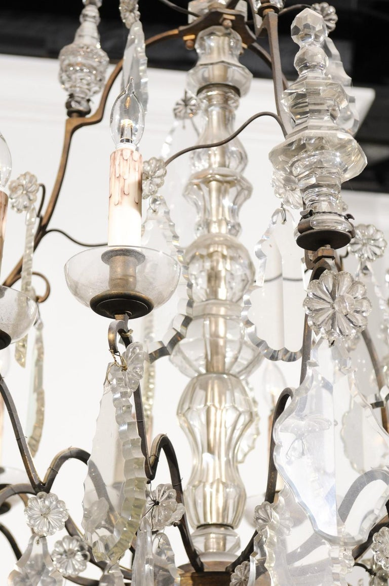 19th Century French Louis-Philippe Period Nine-Light Crystal and Iron Chandelier, circa 1840 For Sale