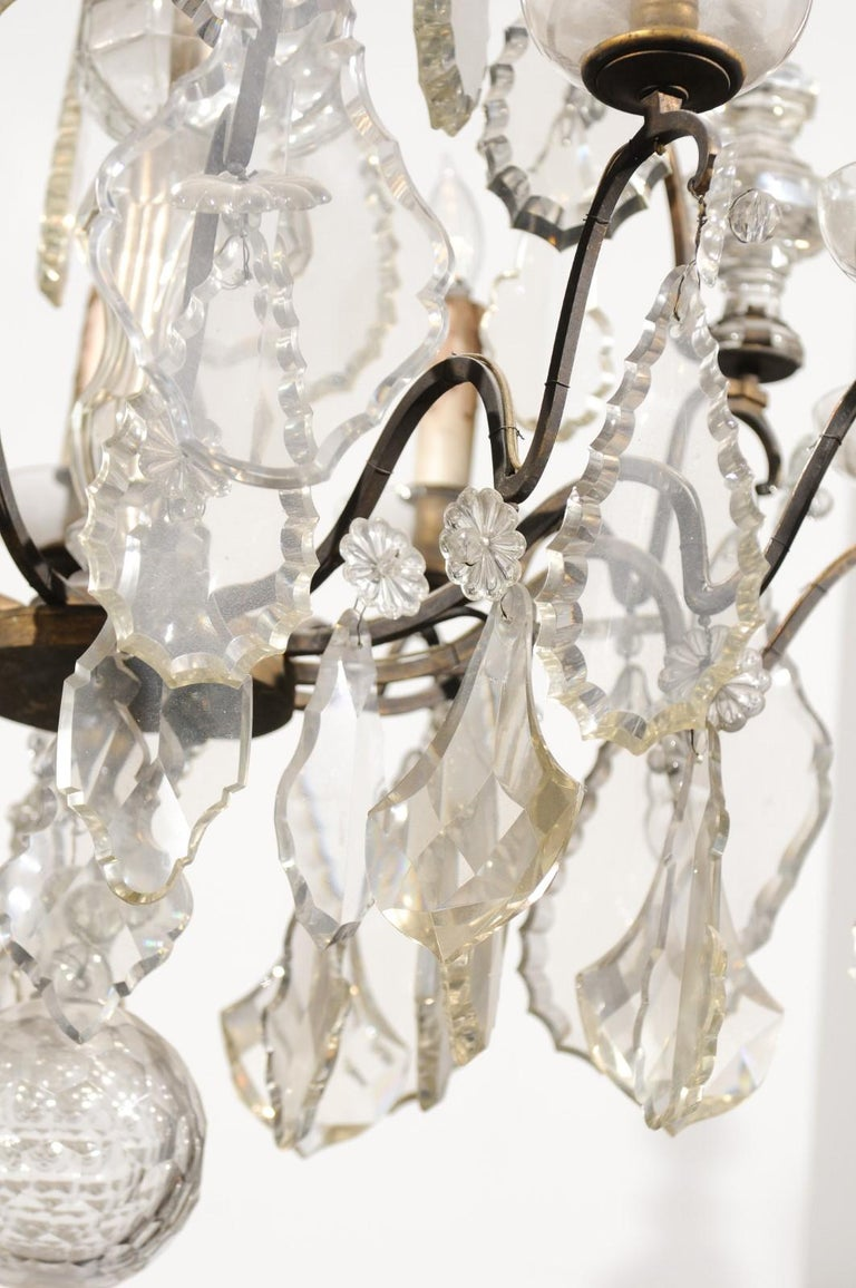 French Louis-Philippe Period Nine-Light Crystal and Iron Chandelier, circa 1840 For Sale 3