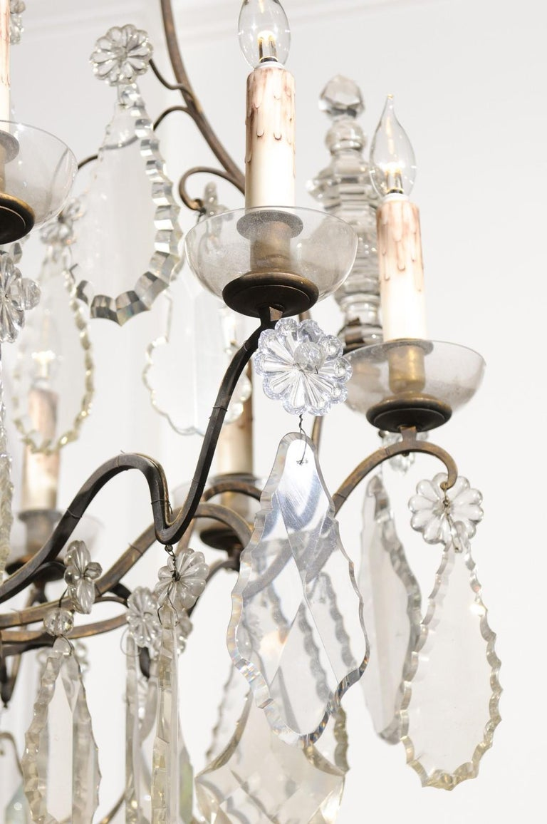French Louis-Philippe Period Nine-Light Crystal and Iron Chandelier, circa 1840 For Sale 4