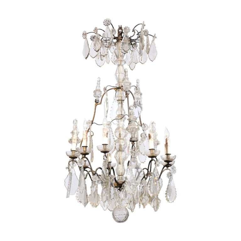 French Louis-Philippe Period Nine-Light Crystal and Iron Chandelier, circa 1840 For Sale