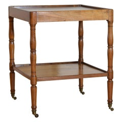 French Louis Philippe Period Walnut 2-Tier Table on Casters, Mid-19th Century