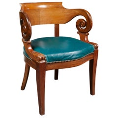 French Louis Philippe Period Walnut Desk Chair or Desk Chair