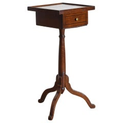 French Louis Philippe Period Walnut and Inlaid 1-Drawer Pedestal Table