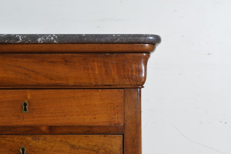 French Louis Philippe Petite Walnut & Marble Top 5-Drawer Commode, circa 1840 3