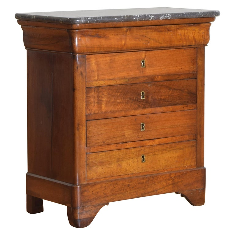 French Louis Philippe Petite Walnut & Marble Top 5-Drawer Commode, circa 1840